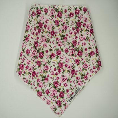 Floral Print Pink Roses on White Medium Bandana