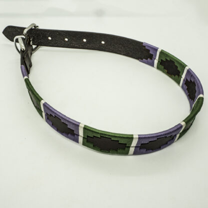 Lilac and Green Polo XL Leather Collar