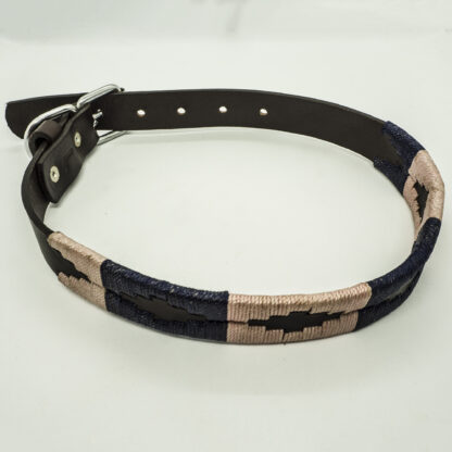 Navy and Ecru Polo XLS Leather Collar