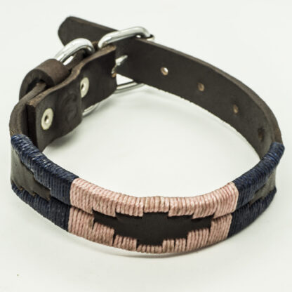 Navy and Ecru Polo XS Leather Collar