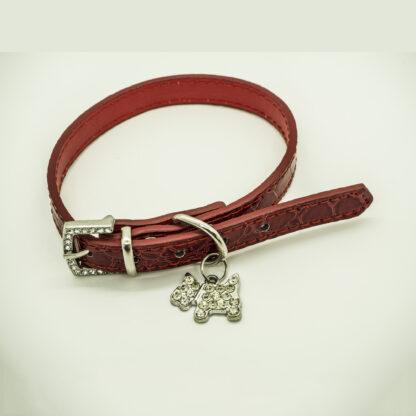 Wagytail Mock Croc Red Collar