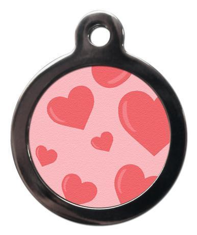 Pink Hearts PA1 Pattern Dog ID Tag